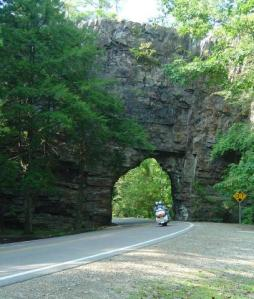 photo - motorcycle cruises through Backbone Rock
