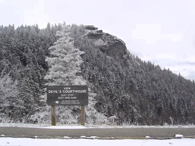 Photo - snow on the Devil's Courthouse on the Blue Ridge Parkway